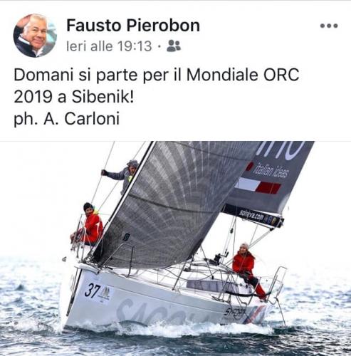 """Buon vento al nostro socio Fausto Pierobon in partenza con """"Sagola"""" per il Mondiale …"""